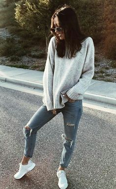street chic rips with knits