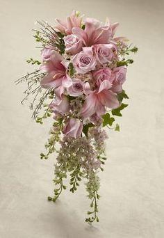 Cascading Bridal Bouquet - A pink, white, and green cascading bouquet.  http://www.winfieldflorist.com/events/