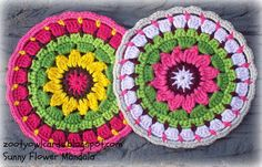 Sunny Flower Mini Mandala, tutorial by Zooty Owls Crafty Blog. Would make lovely potholders.