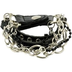 Unisex Metal Spike Studded Chain Punk Rock Strap PU Leather Bracelet ($7.99) ❤ liked on Polyvore featuring jewelry and bracelets