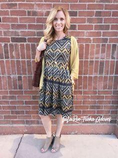 LuLaRoe Jaquard Amelia Pared with a sheer mustard lindsay sweater!   https://www.facebook.com/groups/LuLaRoeTrishaAdcock/