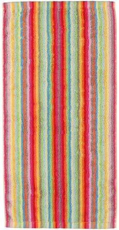 Fröhliche Handtuch Serie »Lifestyle Streifen« der Marke Cawö. Was für ein Farbenfeuerwerk - das Design dieser Hand- und Badetücher leuchtet in stylischen Farben. Wenn Sie morgens verschlafen ins Badezimmer tapsen, werden Sie von diesen Tücher in »Gute-Laune-Optik« begrüßt. So kann der Tag nur noch gut werden. Zusätzlich erfreuen Sie sich an der hochwertigen Walkfrottee-Qualität aus 100% Baumwol...