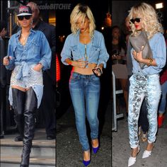 Rihanna Denim Looks