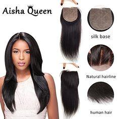 """Aisha Queen Straight Silk Base Top Clousure Human Hair 4x4"""" Brazilian Virgin Hair Closures with Baby Hair Bleached Knots Natural Hairline 16"""" Free Part"""