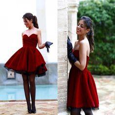 Strapless Burgundy Knee Length Taffeta Cocktail Dress