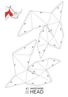 Papercraft rhino head printable DIY template by WastePaperHead