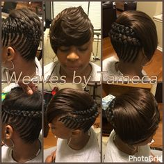 Feed in braids, feathered bang, bob look, French braids, quick weaves, side bang, black hair