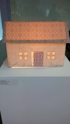 Crofthouse lampshade made for Bonhoga Gallery Shetland open exhibition theme 'home' 2014  #lampshade #house #croft #country #interior #shetland #scottish #british #embroidery #light