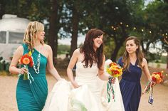 Love the varied colour BM dresses in exactly our wedding colours!