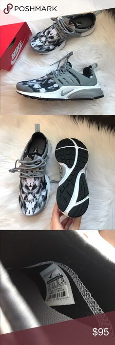 Nike Air Presto Print Sneakers Woman's Nike Air Presto Print Sneakers Style: 878070-001 Grey, black and white New with original box, no lid Size 7 Nike Shoes Sneakers