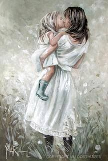 Lief vir mamma by Maria Magdalena Oosthuizen Oil Painting On Canvas, Painting & Drawing, Mother Daughter Art, Mother And Child, South African Artists, Painting People, Beautiful Paintings, Belle Photo, Female Art