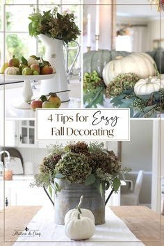 Using items from nature is one of the easiest (and most beautiful) ways to decorate for fall! Read my 4 Tips for Easy Fall Decorating!---> #maisondecinq falldecor falldecorating falldecoratingideas neutralfall naturalfalldecor whitepumpkins autumndecor autumndecorating frenchcountry countryfrench frenchfarmhouse europeanfarmhouse Autumn Decorating, Fall Decor, Thanksgiving Decorations, Table Decorations, Nature Decor, Fall Diy, Autumn Inspiration, Fall Season, Home Goods