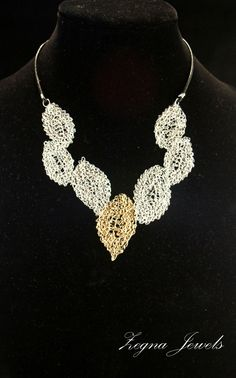 Silver wire crocheted statement necklace and by ZegnaJewelry,