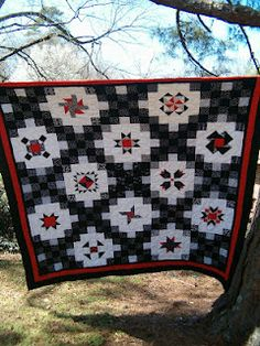 Nice setting for a quilt shop BOM.  Each 25-patch block has a different set of fabrics.