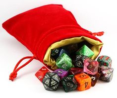 Velvet and Satin Dice Bag (Red and Gold)