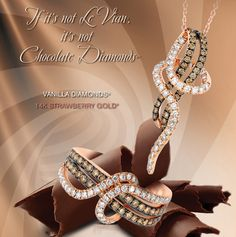 Le  Vian Chocolatier® Gladiator® Wraps™ ring (ZUFX 75) and pendant necklace (ZUFX 76) with Chocolate Diamonds® and Vanilla Diamonds® in Strawberry Gold®.
