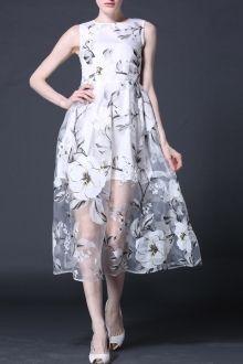 High Waist Midi Floral Dress