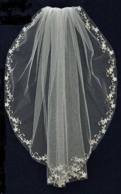 "So pretty! 32"" Pearl Embroidery Elbow Length Wedding Veil C425 - Affordable Elegance Bridal -"