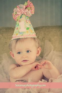Customize Your First  Birthday Party Hat and Bib set- 1st Birthday Keepsakes - Removable Wearable Bow via Etsy