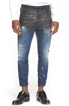 Dsquared2 Skater Fit Double Waist Paint Splatter Jeans (Black) available at #Nordstrom