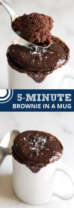 5-Minute Brownie in a Mug Recipe from @inspiredtaste | inspiredtaste.net #brownies