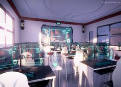 Classroom, Scenery, Background, Anime Background, Anime Scenery, Visual Novel   A classroom like this...... A dream?  No the future