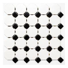 Till nedra badrum: (med svart fog) MOSAIK OCTA WHITE MATT WITH BLACK GLOSSY OCTA G468 PRIS/ARK - Keramikmosaik - Kakel & Klinker - Golv & Kakel Ark