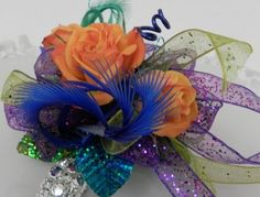 A Prom corsage. Look at those orange roses!