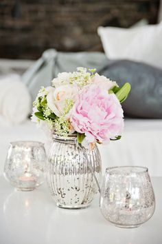 silver vases and white flowers