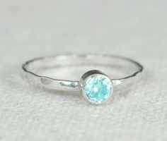 Small Aquamarine Ring, Mothers Ring, Hammered Silver, Stackable Rings, Mother's Ring, March Birthstone, Skinny Ring, Stack Ring, Silver Ring #StackableRing #StackingRing #MarchBirthstone #MothersRing #AquamarineRing #SkinnyRing #alari #BirthstoneRing #SilverRing