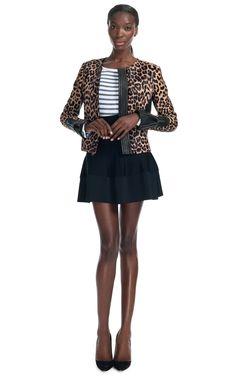 "Leopard print jacket with leather detailing A.L.C ""Savile"" Jacket"