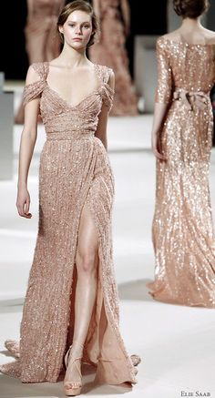 Glitter dress that appears to be inspired by Roman fashion.