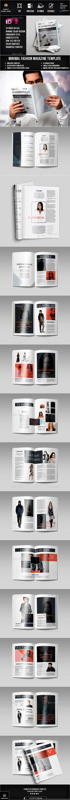 Fashion Magazine 24 Page Layout Template InDesign INDD #design #journal Download: http://graphicriver.net/item/fashion-magazine-02/13116504?ref=ksioks