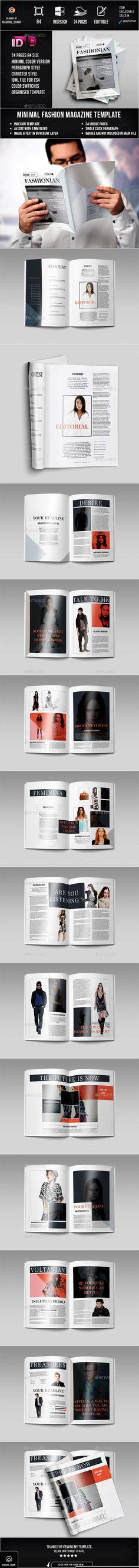 Fashion Magazine 24 Page Layout Template InDesign INDD #design #journal Download: http://graphicriver.net/item/fashion-magazine-02/13116504?ref=ksioks