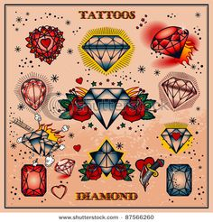 The gem heart in the corner is a good reference point for the type I want in the sleeve! diamond tattoos,diamods forever, April birthstone