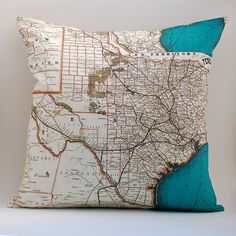 Vintage TEXAS Map Pillow, Made to Order 18 x18, Linen Blend $49