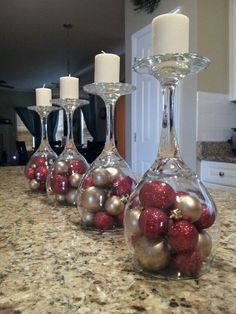 DIY ideas for Christmas Decorations;Table Decorations; Christmas Decor DIY food on a budget Ideas of Inverted Goblet Candles for Holiday Decoration Christmas Candle Decorations, Christmas Candles, Table Decorations, Wedding Decorations, Wedding Centerpieces, Simple Christmas, Christmas Diy, Christmas Ornaments, Coastal Christmas