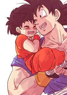 """Pra quem estiver afim de um wallpaper, eu adoro esse.  Goku e Pan - Episódio """"O Sonho de Goku""""."""