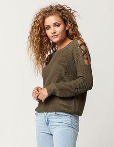 FULL TILT Lattice Shoulder Womens Sweater Green
