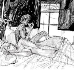 Notti insonne. Illustrazione a tema grottesco.