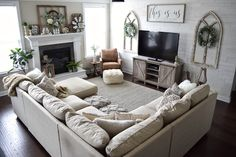 amazing home living room sofa design and decorating ideas Living Room Sofa Design, Cozy Living Rooms, New Living Room, Living Room Interior, Home And Living, Living Room Designs, Living Room Layout With Fireplace And Tv, Living Room With Sectional, Tv Stand Ideas For Living Room