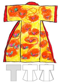 Art Projects for Kids: Kimono Drawing - How perfect! Goes so well with our Japanese paper dolls we've made! :)