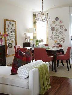 sarah richardson sarah 101 vibrant living room dining room antique plate collage