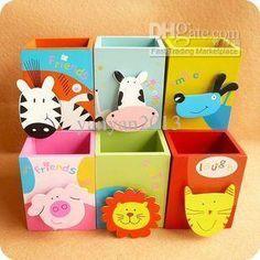 1 Pcs/set Kawaii Cartoon Animal Wooden Pen Holder for School Stationery & Office Supplies