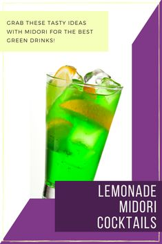 A simple way to serve Midori is with lemonade but that's just the start! Check out these other ideas for Midori drinks including lemonade and other flavours to really bring out that tasty melon liqueur - and its brilliant green colour! Midori Cocktails, Bourbon Cocktails, Easy Cocktails, Classic Cocktails, Cocktail Recipes, Citrus Recipes, Fruit Recipes, Drink Recipes, Green Melon
