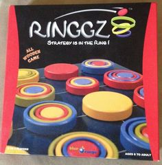 RINGGZ All Wooden Ring Strategy Board Game Rings Blue Orange 100% COMPLETE
