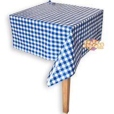 Toalha de Mesa Xadrez Azul e Branca (10un) :: Festa Express