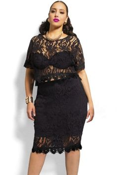 Pretty Plus Size Lace 2-PC Skirt Set Black 3XL Half Sleeve  Plussize   99e1cdaee4d9