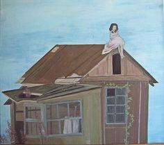 Acquerello acrilico pittura, selvaggio, libertà, libero, da solo, blu cielo, casa sul lago vecchio legno, ivy, by SiminaArt #italiasmartteam #etsy