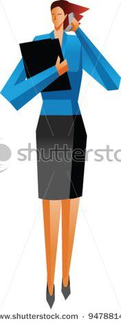 An woman standing - stock vector